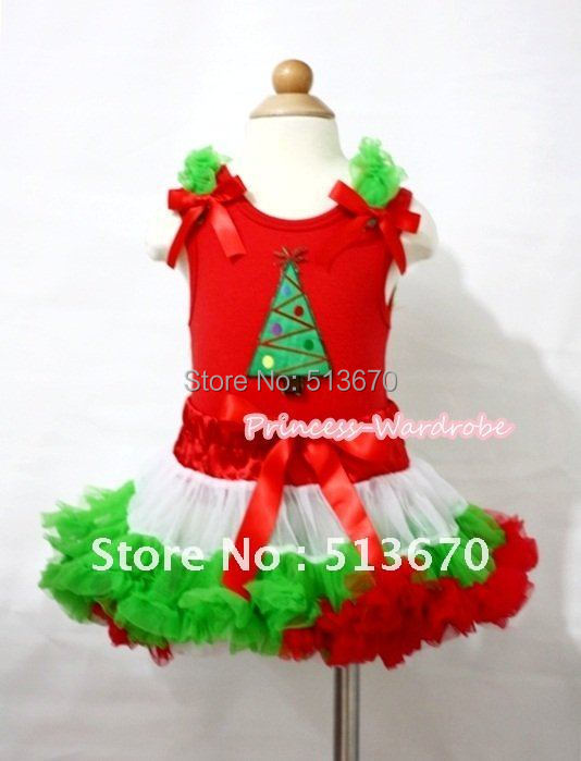Red Tank Top In Christmas Tree with Dark Green Ruffles Red Ribbon & X'Mas Hot Red White Dark Green Pettiskirt MACM103 сумка для фотоаппарата hugger tree trunk dark grey