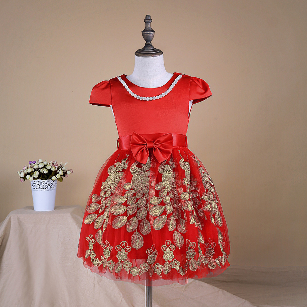 Pearls Kids Clothes Girls Dress Summer 2017 Toddler Girl Clothing Princess Dress Baby Girl Party Dress red blue 2-6T