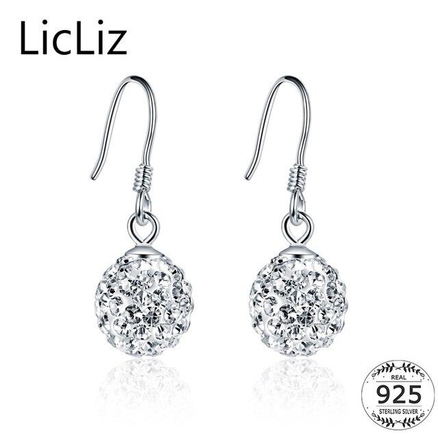Licliz 925 Sterling Silver Round Ball Drop Earrings Jewelry Women Cubic Zirconia Dangle Hook Earring Cz