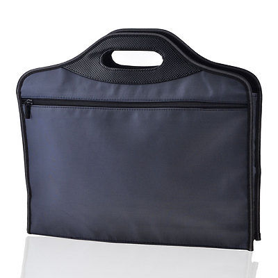 Dark Blue Zippered Faux Leather Handle Conference File Contract Bag Container
