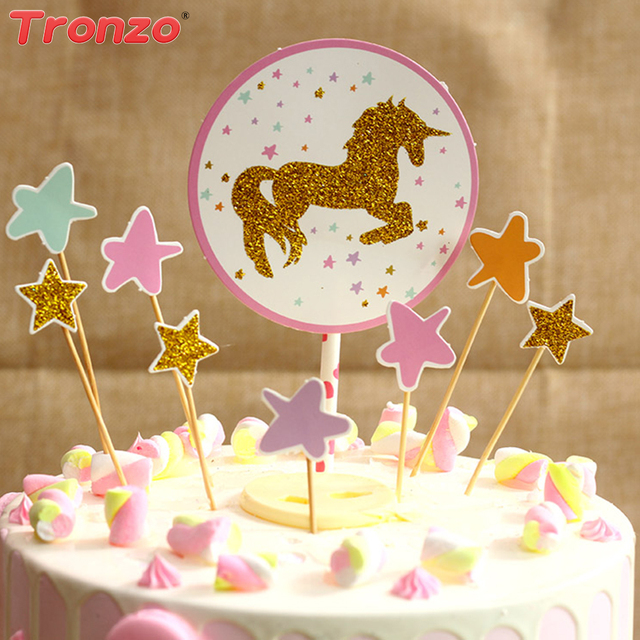Tronzo Unicorn Cake Topper Happy Birthday Party For Children Star Rainbow Cartoon Cupcake Toppers Supplies