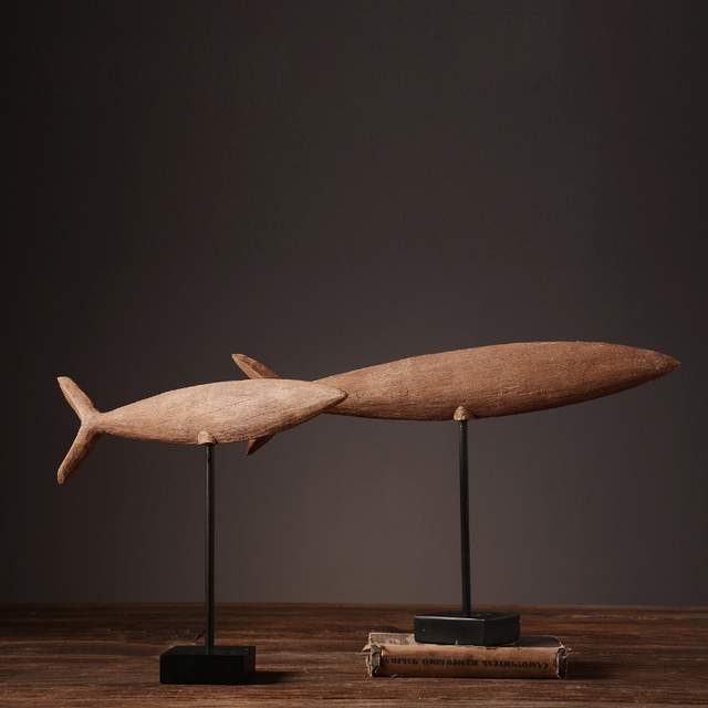 Nordic Home Furnishing Decor Retro Resin Fish Model American Village Luxury Hand Made Offbeat
