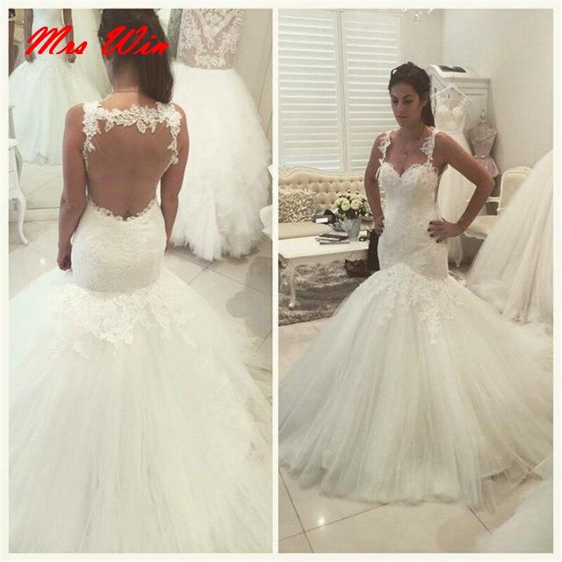 vestido de noiva princesa Plus Size Wedding Dresses Mermaid Style Lace  Wedding Dress brautkleid Backless Bride Dresses Women January 2020
