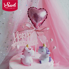 цена на Pink Purple Lovely Unicorn Balloon Cake Decorations Birthday Party Decorations for Baking Cute Gifts