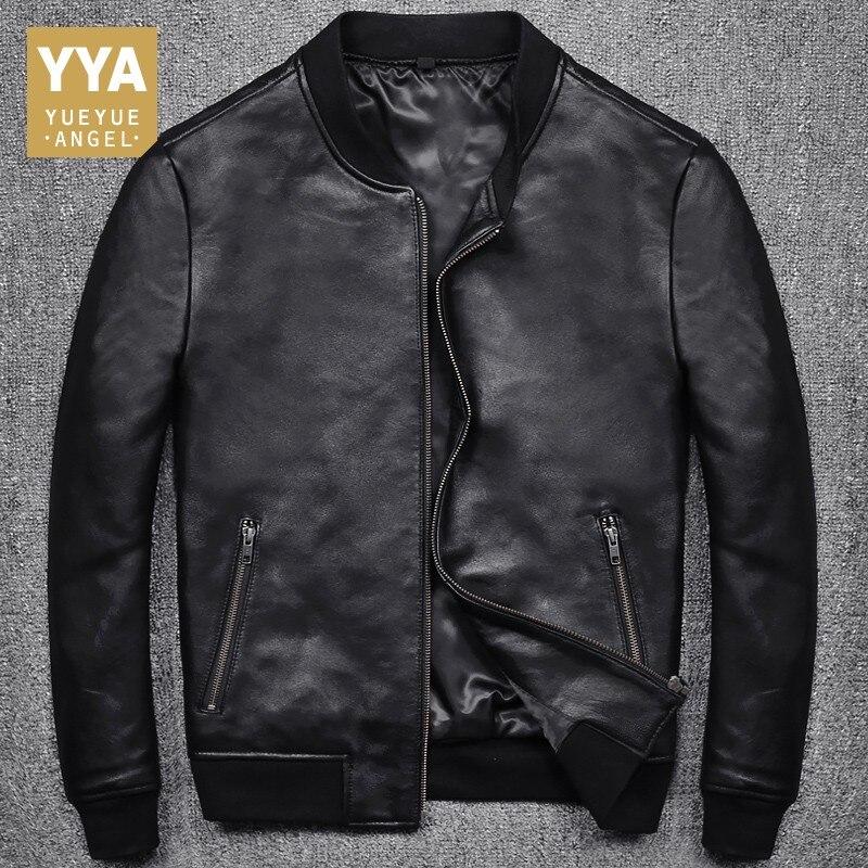 2019 New Fashion Men Black Short Biker Jackets Slim Fit Genuine Leather Jacket Casual Pocket Zipper Male Coats Plus Size S-5XL