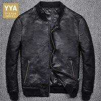 2019 New Fashion Men Black Short Biker Jackets Slim Fit Genuine Leather Jacket Casual Pocket Zipper Male Coats Plus Size S 5XL