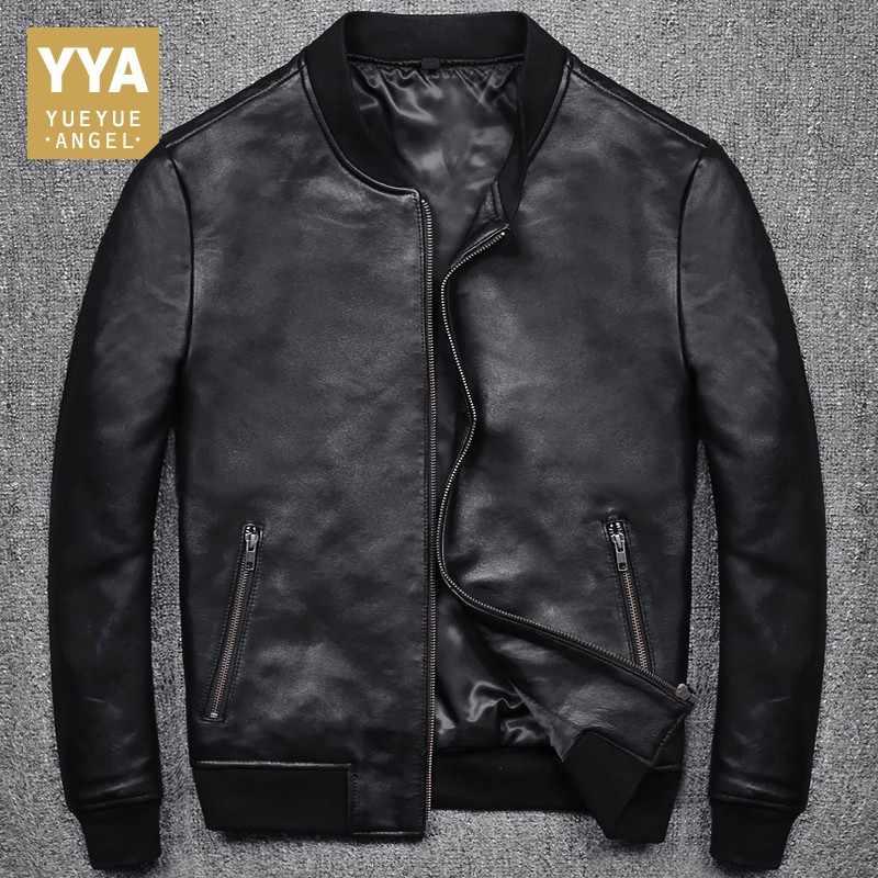 2019 Новая модная мужская черная короткая байкерская куртка, приталенная куртка из натуральной кожи, повседневные мужские пальто на молнии с карманами, большие размеры S-5XL