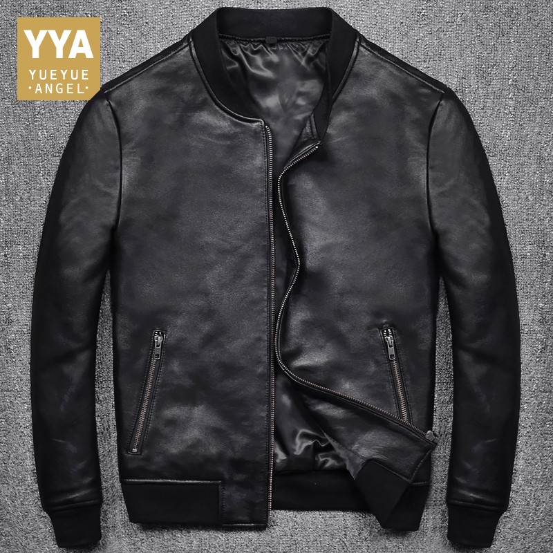New Fashion Men Black Short Biker Jackets Slim Fit Genuine Leather Jacket Casual Pocket Zipper Male Coats Plus Size S-5XL