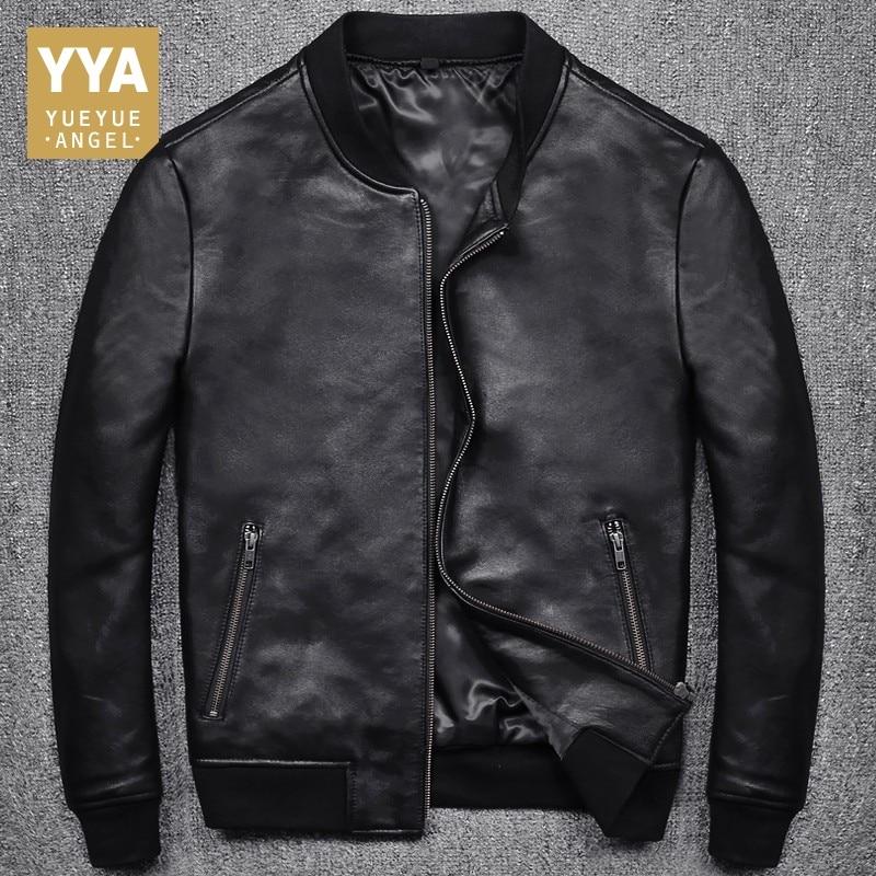 New Fashion Men Black Short Biker Jackets Slim Fit Genuine Leather Jacket Casual Pocket Zipper Male Coats Plus Size S-5XL