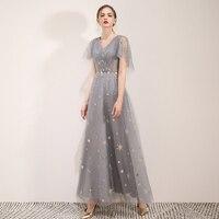 New arrival prom party dresses vestido de noiva sereia gown robe de soiree evening tulle soft satin slim little star V neck