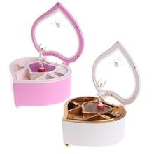 Heart Shape Dancing Ballerina Music Box Jewellery Box Girls Carousel Gift m18