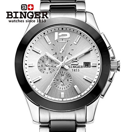 New Arrives 2017 Geneva Ceramic Bling Binger Watch Men Analog Automatic Wristwatch Luxury Chic stylish Watches Free Shipping geneva new jd mk