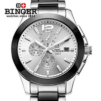 New Arrives 2015 Geneva Ceramic Bling Binger Watch Men Analog Automatic Wristwatch Luxury Chic Stylish Watches