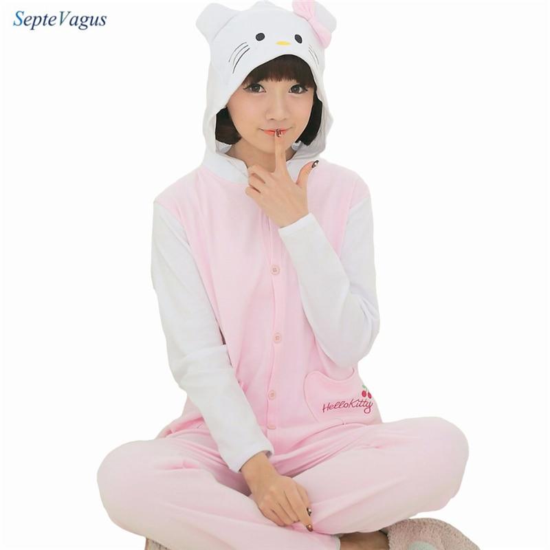 2018 spring Homewear Pajamas Hello Kitty Soft Cartoon Costume Onesies Pajamas Family Onesie pijamas enteros de animales sleep