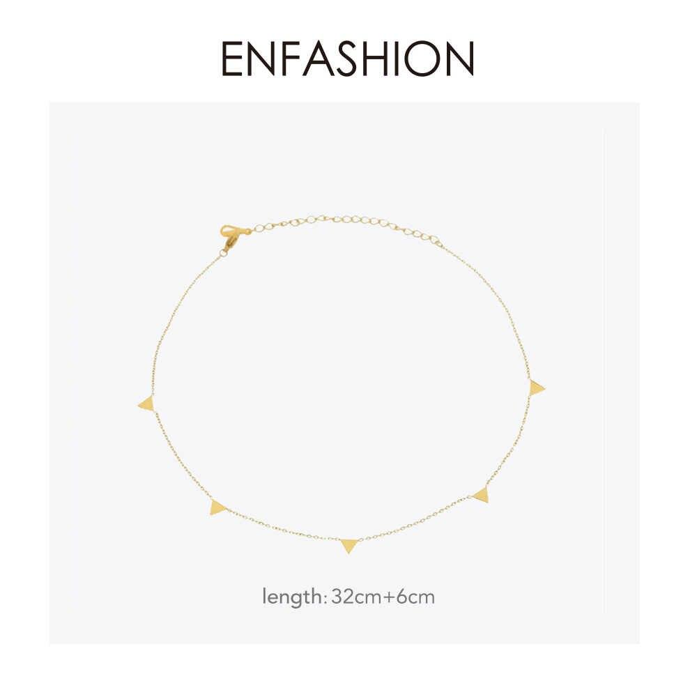Enfashion geometryczny trójkąt koło gwiazda Choker naszyjnik złoty kolor naszyjniki wisiorki naszyjnik ze stali nierdzewnej kobiety chocker