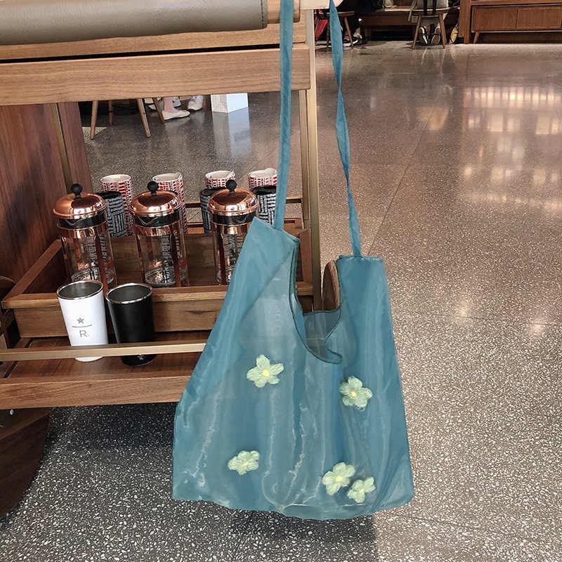 2019 bolso transparente para mujer, bolso de hombro con flores, bolso de compras para mujer, bolso plegable de tela ecológica para estudiante