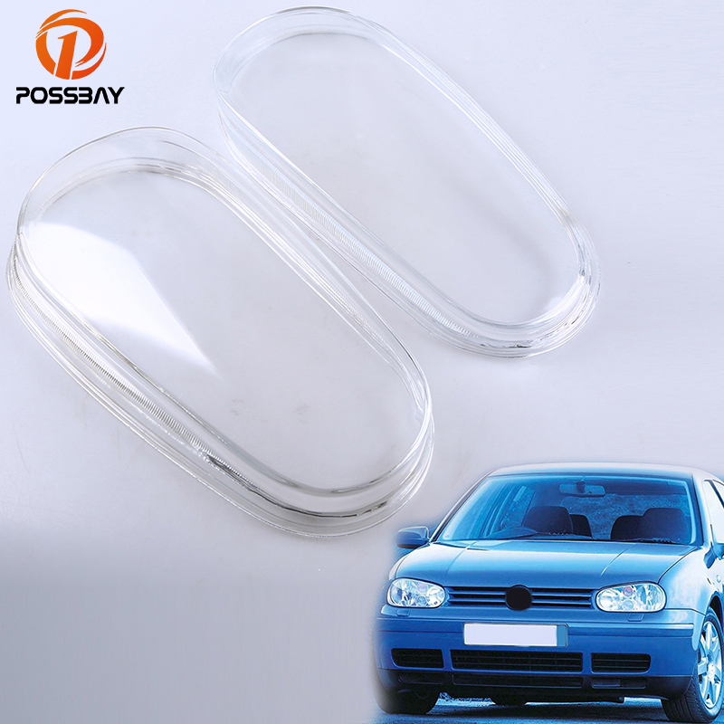 POSSBAY Glass Headlight Lenses Clear Lens Headlamp Cover Left&Right Lampshade for VW Golf/Variant/4 Motion 1998-2006 1 pair car headlight clear lenses lens clear cover left