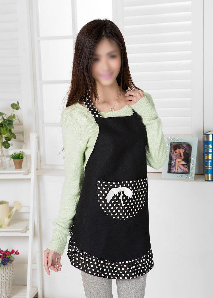 TFBC Hanerdun Womens Apron Ladies Cute Apron Fancy Maid Set Apron, Black Bowknot Apron W ...