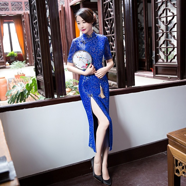 Autumn Winter New Arrival Blue Lace Chinese National Trend Satin Cheongsam Vintage Sexy Long Qipao Dress Oversize S M L XL XXL