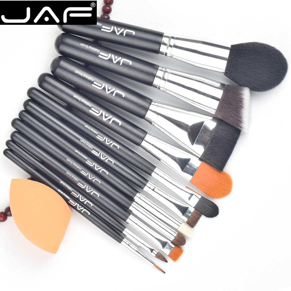 JAf 12pcs Makeup Brush Set Cosmetic Foundation Cream Powder Blush  Sponge puff Woman's Toiletry brushes with Zipper Cas candy color calabash shaped cosmetic makeup cotton pads sponge puff pink