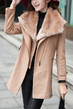 SAF-Hot Women's Warm Fur Collar Thicken Wool Coat Lapel Zipper Jacket