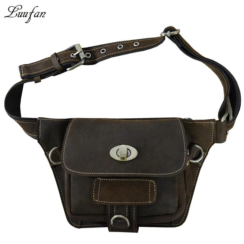 Vintage crazy horse leather waist bag Designer Messenger