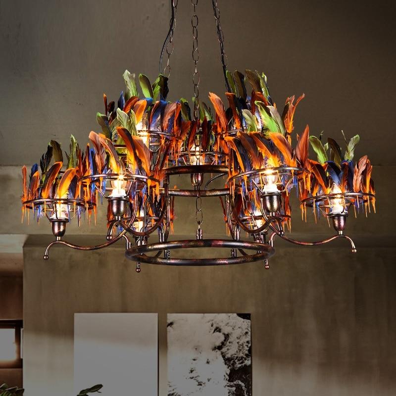 Iwhd Feather Retro Lamp Led Pendant Lights Loft Style Vintage Lighting Hanging Light Fixtures Bar Cafe Luminaire