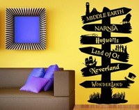Wall Decal Vinyl Sticker Storybook Signpost Fandom Harry Potter Lord Of The Ring Narnia Peter