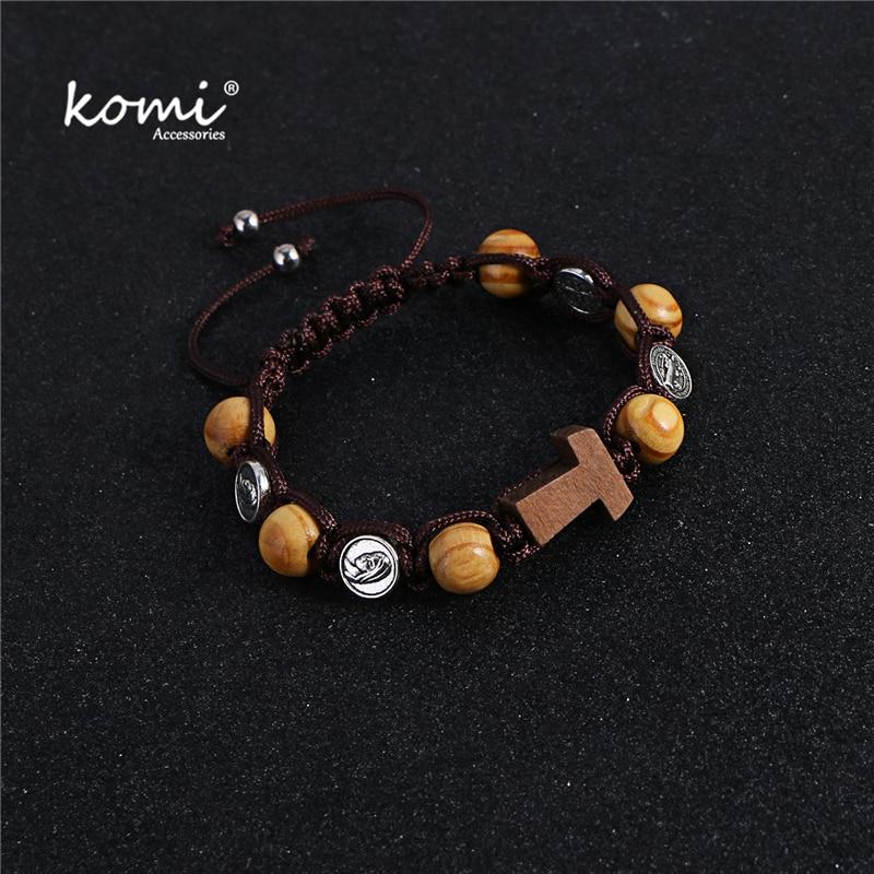 Komi Christianity Handmade Braided Rosary Bracelet St Mary Wood Beads Beaded Bracelet Cross Classic Prayer Bracelets R-081