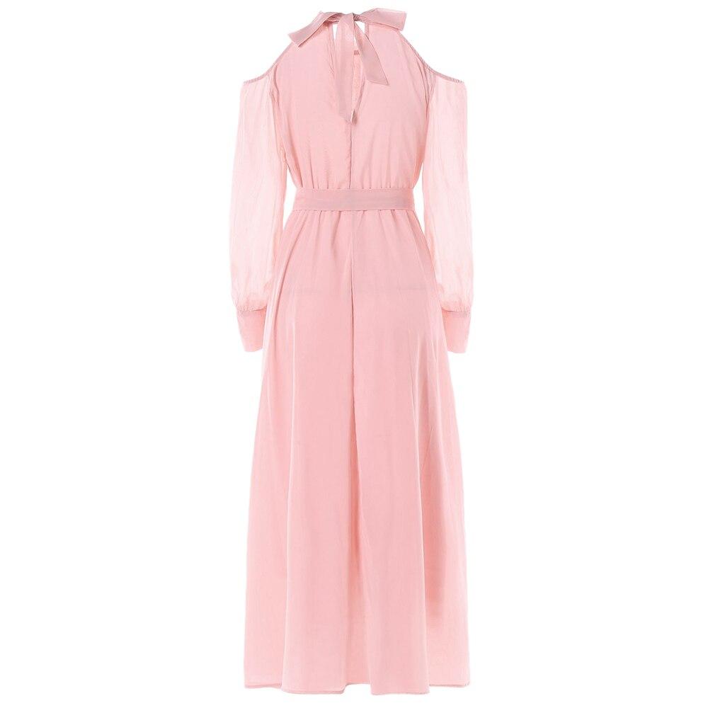 0aa2056571 Aliexpress.com : Buy Wipalo Autumn Open Shoulder Long Sleeve Women Dress  Solid Faux Pearl Chiffon Dress Cuff Sleeve O Neck Belt Elegant Dreess New  from ...