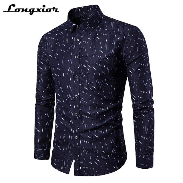 9b2d91361eb 2018 New Men Dress Shirt Printed Slim Fit Shirts Men Cotton Breathable Work  Formal Shirts Stand