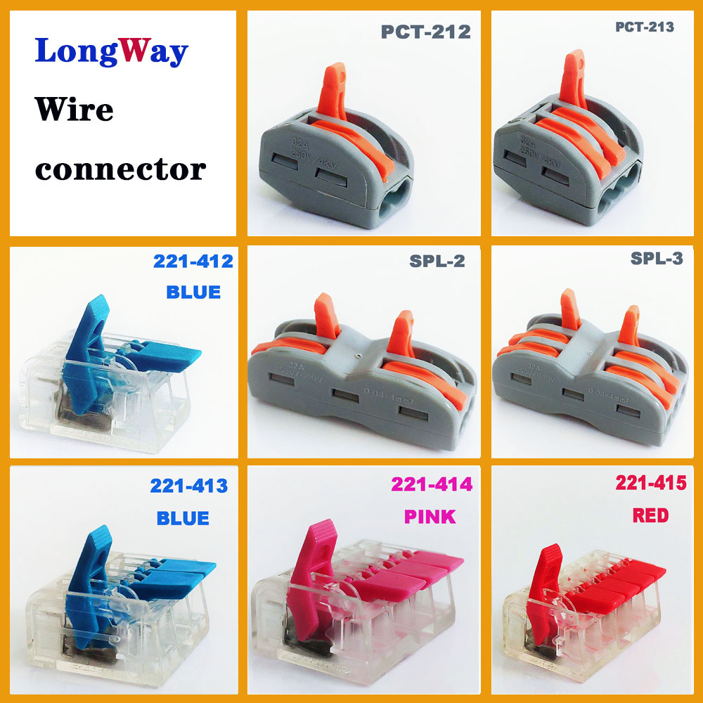 Quick Wire Connectors Waterproof Cable Terminals Block Plug-in 221-412 Mini Fast