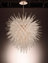 Custom Crystal Chandelier Lighting 38 Inches Height LED Bulbs Hand Blown Glass White and Clear Color