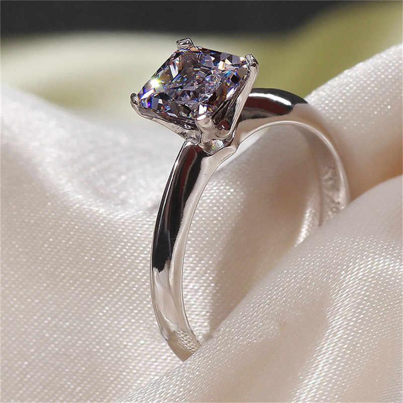 Choucong คลาสสิก 100% เงินแท้ 925 แหวนเจ้าหญิงตัด 1CT AAAAA Zircon แหวนหมั้นแหวนผู้หญิงผู้ชาย