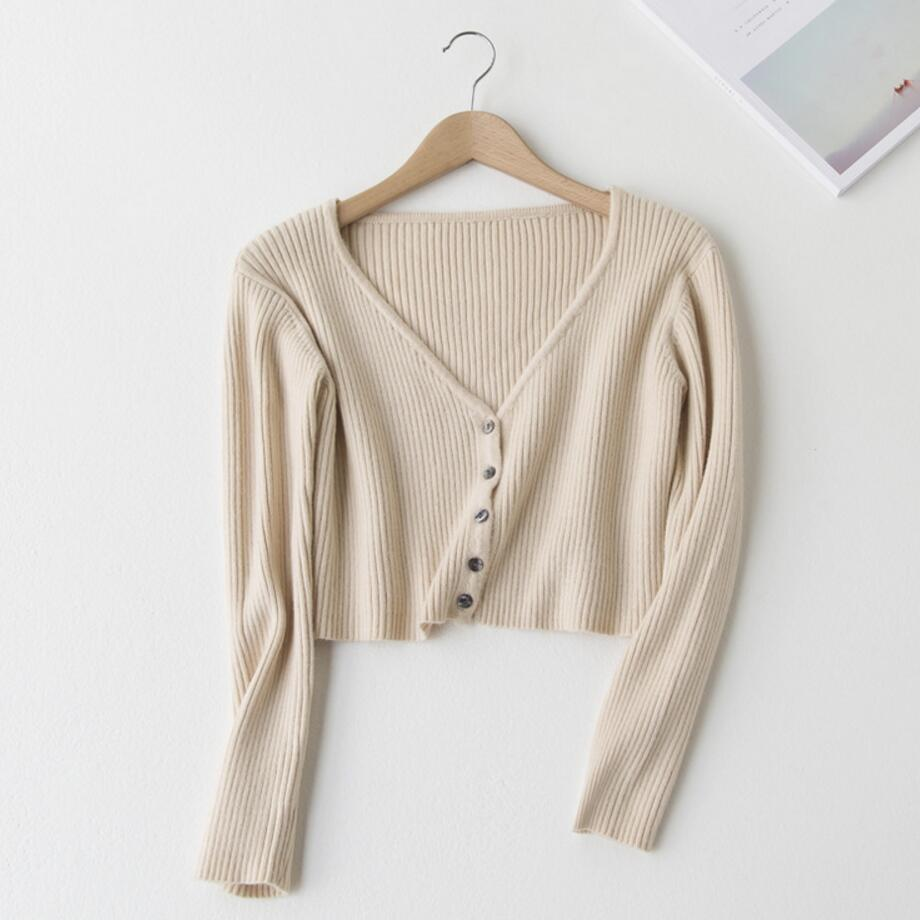 Knitted Crop Tops Women  Fashion V Neck Long Sleeve Solid Color Sweater Female Vertical Knit Single Breasted Short Cardigans