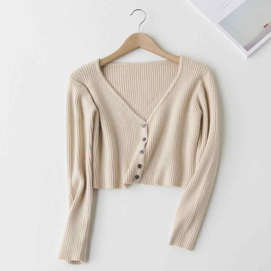 Knitted Crop Tops Women Fashion V Neck Long Sleeve Solid Color Sweater  Female Vertical Knit Single a39596838