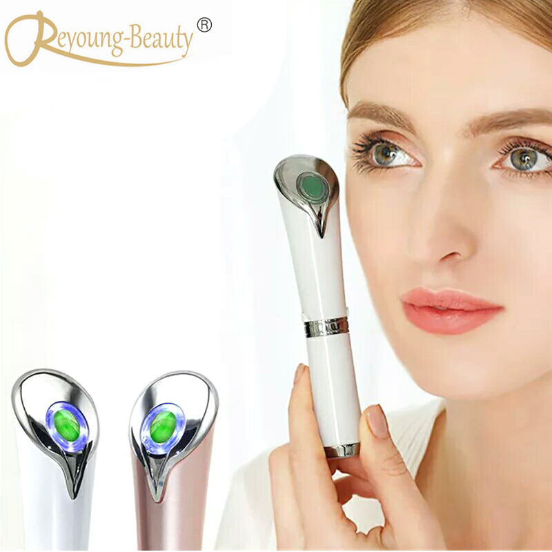 Anti Aging Dark Circle Eyebag Wrinkle Removal Face Eye Forehead Infrared Ion Thermal Warming Jade Vibration Beauty Massager Pen ms w automic electric eye care massager ion in blue eye wrinkle removal stick usb charge vibration beauty pen infrared treatment