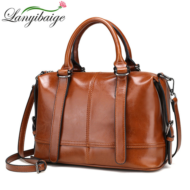 b8db19a40f60 LANYIBAIGE 2018 Vintage Women Messenger Bags 100% Genuine Cow Leather Handbags  Female Luxury Brand Shoulder Bag Casual Lady Tote