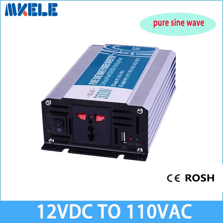 300W 12v dc to 110v ac  pure sine Wave inverter voltage converter off grid solar inverter electric power inversor MKP300-121 1200w pure sine wave inverter dc 12v 24v 48v to ac 110v 220v off grid solar power inverter voltage converter for home battery