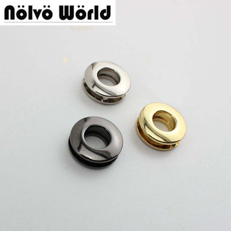 50-100pcs 6 Colors 10mm High Quality Grommet Die Casting Fashion Bags Belts Metal Accessory Round Eyelets With Screws