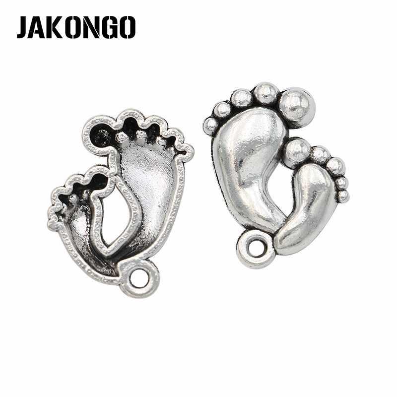 JAKONGO античные посеребренные двойные лапки Подвески в виде ступней для изготовления ювелирных изделий браслет DIY ремесло 20 шт 20x15 мм