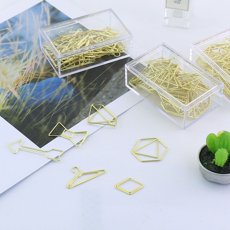 Golden Metal Paper Clips Bow, Diamond, Hexagon, Long Arrow Shape Bookmark Memo Clips Stationery Office Accessories