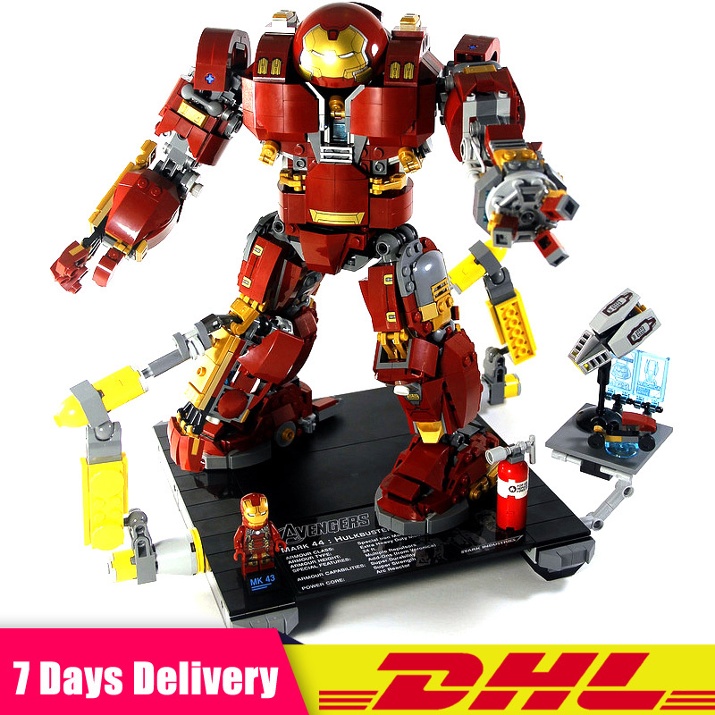 DHL MOC Legoingly 76105 Lepin 07101 1527Pcs Super Hero Iron Man The Hulkbuster Ultron Edition Toy Building Bricks Blocks Model lepin 07101 super heroed 1527pcs iron man hulkbuster ultron toy building blocks model compatible with 76105 marvel avengers