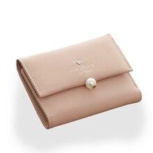 5 Farben 2016 Neue Mode Einfachen Brief Perle Schnalle Bifold Kleine Brieftasche Klassische frauen Kurze Entwurfsmappe Geldbörse Carteira