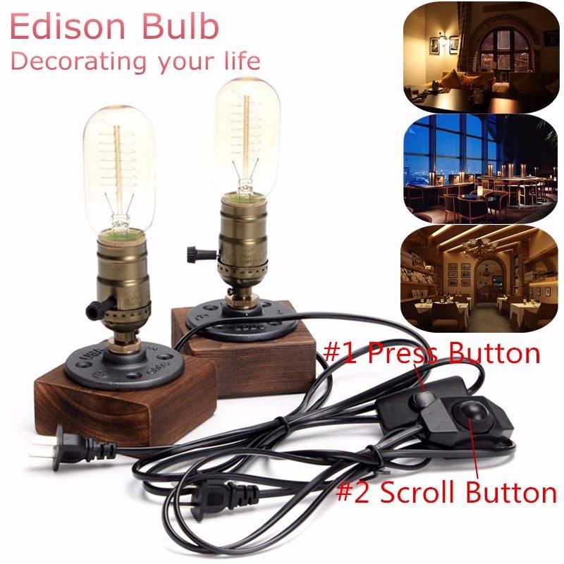 Vintage Desk Light Table <font><b>Lamp</b></font> Edison <font><b>Bulb</b></font> 40W Industrial Retro Wooden Socket Lighting Fixture Dimmable Cafe <font><b>Decor</b></font> 110V-220V