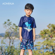 AONIHUA Boys Swimwear Two Pieces Swimsuits for Toddler Boy Print Children Swimsuit Short Sleeve Rash Guards Swimming Suits 1061