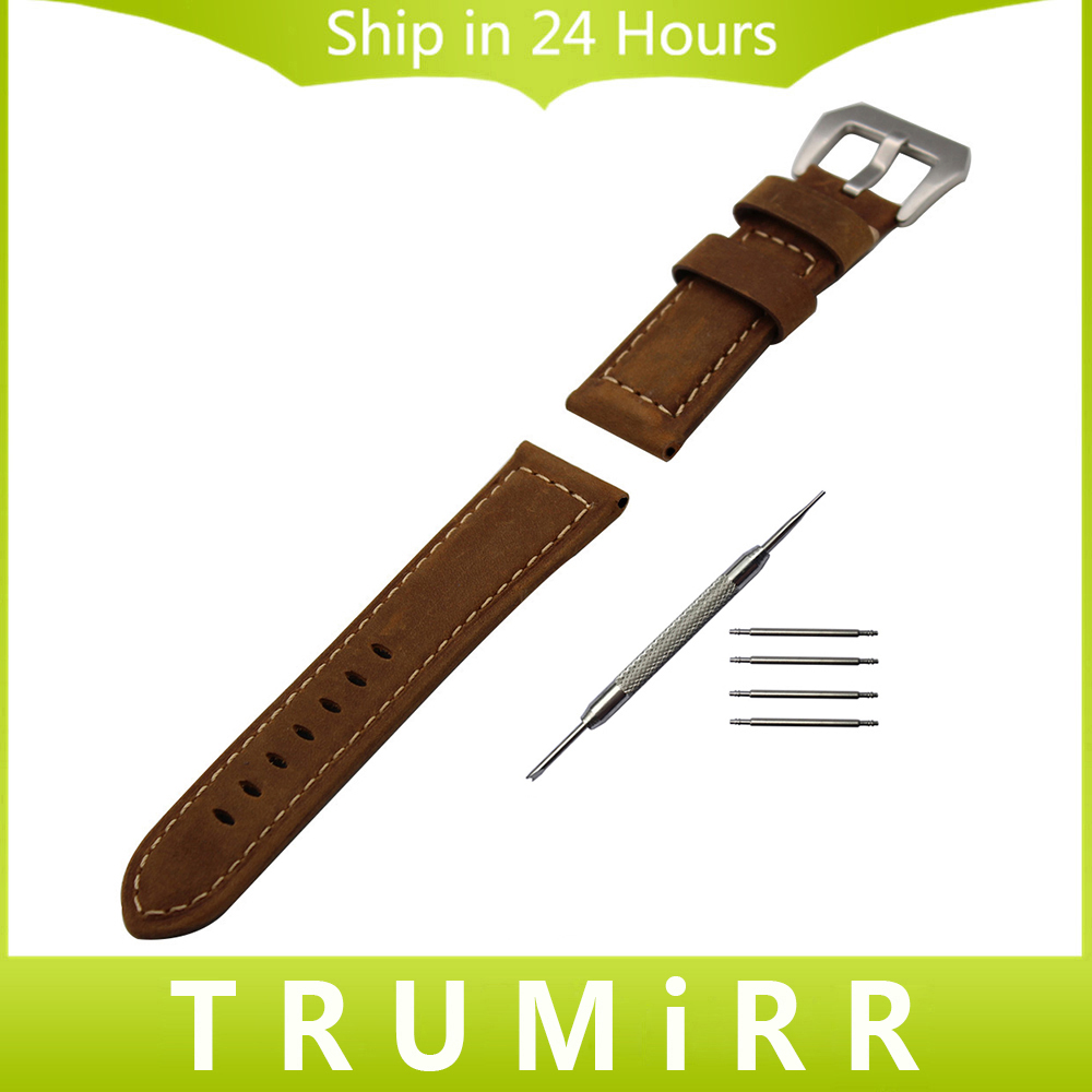 Italian Calf Genuine Leather Watch Band Handmade 22mm 24mm for Panerai Luminor Radiomir Tang Buckle Strap Bracelet Black Brown new arrive top quality oil red brown 24mm italian vintage genuine leather watch band strap for panerai pam and big pilot watch