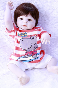 girl baby reborn Silicone dolls, lifelike doll reborn babies for Children's toys 22inch 55cm The Red stripes clothes doll