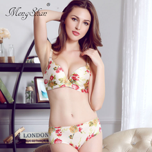 MengShan Women drawing One-piece printing Brassiere without steel ring Small breasts gather underwear A cup B C sexy bra