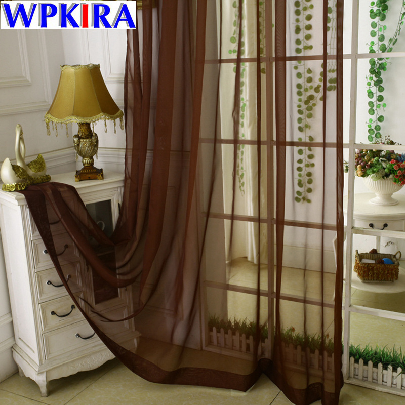 Tulle Curtains Print Kitchen Decorations Window Treatments American Living Room Divider Sheer Voile curtain Single Panel J30